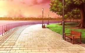 скамейка, огни улицы, река, город, деревья