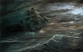 ship, waves, fantasy, sea, storm