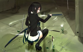 dark hair, sword, heels, knife, anime, stockings
