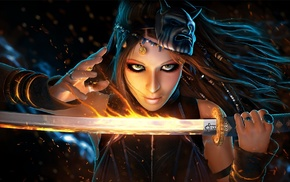 redhead, girl, warrior, fantasy art, katana, concept art