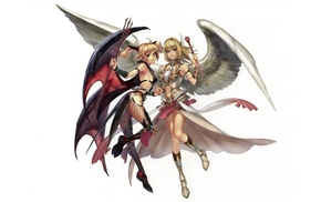 anime, wings, original characters, anime girls