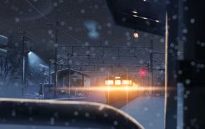 snow, bokeh, lights, winter, night, 5 Centimeters Per Second