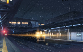 lights, train station, Makoto Shinkai, 5 Centimeters Per Second, night, anime