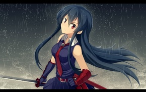 anime girls, sword, rain, Akame ga Kill, Akame, anime