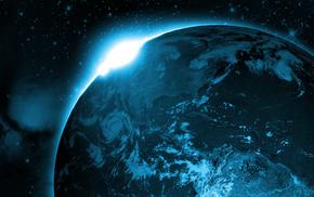 planet, Sun, Earth, space, sunrise