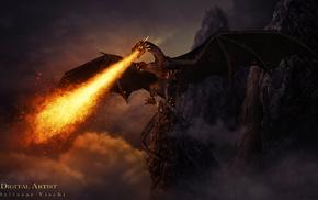 fantasy, rocks, dragon, fire
