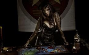tattoo, girl, Russian girl, candles, vodka