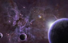 space, nebula, sunrise, planets