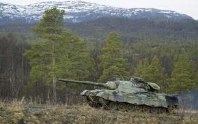 gun, forest, tank