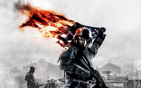 игры, флаг, автомат, Homefront, горящий флаг, война