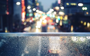 bokeh, water on glass, street, blurred