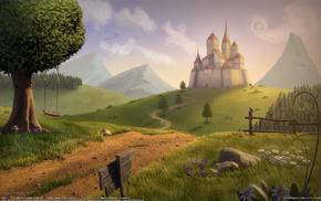 fantasy, hills, castle, tree