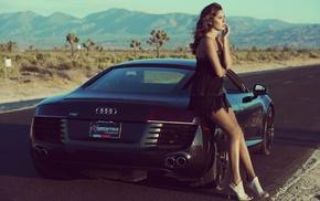 girl with cars, Audi, car, desert, black dress, brunette
