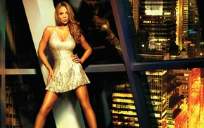 dress, urban, reflection, Mariah Carey, blonde, city