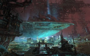 futuristic, concept art, fantasy art, city, planet, artwork
