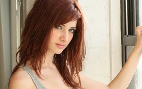 tank top, Susan Coffey, green eyes, redhead