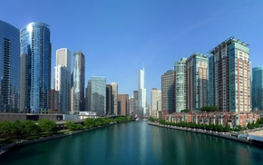 river, USA, cities, Chicago, water