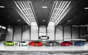 selective coloring, car, Lamborghini Aventador, hangar, aircraft