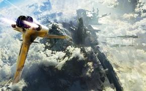 космический корабль, облака, произведение искусства, концептуальное искусство, цифровое искусство