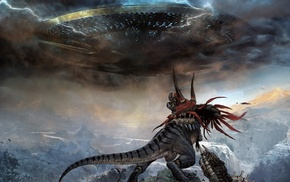 aliens, artwork, Space Invaders, dinosaurs, digital art, concept art