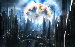 concept art, stars, city, explosion, futuristic, space