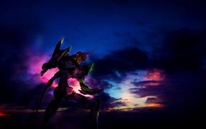 sky, anime, clouds, EVA Unit 01, Neon Genesis Evangelion