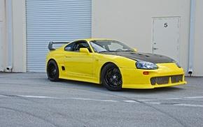 Toyota Supra, car, tuning, yellow cars