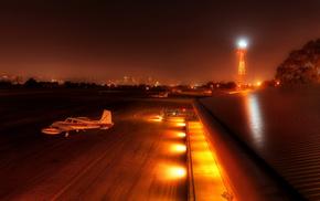 аэропорт, авиация, город, Вечер