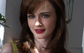 girl, freckles, dress, blue eyes, brunette, Alexis Bledel