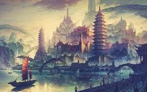Asian architecture, boat, fantasy art, artwork