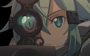 anime, eyes, Asada Shino, Sword Art Online, sniper rifle