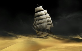 sand, dark, sailing ships