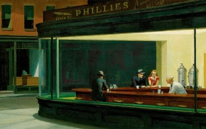 painting, Edward Hopper, diner, Nighthawks, classic art, artwork