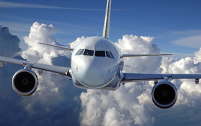 fly, airplane, sky, clouds, aircraft