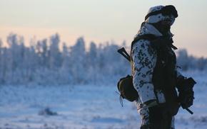 gun, soldier, winter, snow