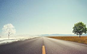 road, summer, winter