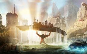 boat, cityscape, EVA Unit 02, sunlight, anime, Neon Genesis Evangelion