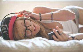 Nike, headphones, brand, glasses, in bed, music
