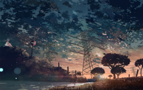 sunset, clouds, trees, anime, lake