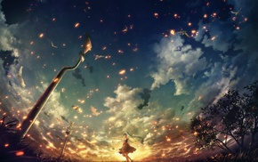 Hatsune Miku, warning signs, anime, clouds, sunset, trees