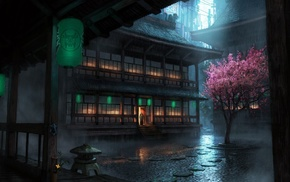 building, cherry blossom, The Secret World, rain