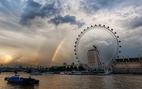 темза, радуга, лондон-ай, Лондон, карусель, города