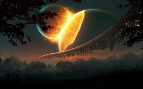 lights, explosion, fantasy art, mountain, planet