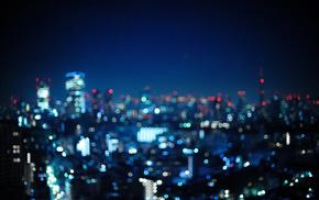 bokeh, lights, Tokyo, Japan, city