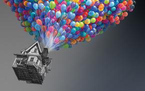 дом, шарики, Up, фильмы, вверх