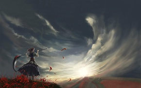 clouds, anime, Onozuka Komachi, scythe, ponytail, field